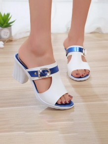White Round Toe Chunky Rhinestone Fashion Mid-Heeled Sandals