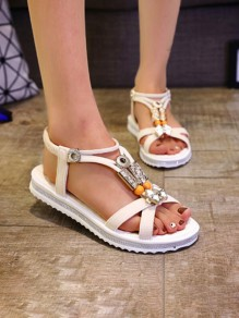 Beige Round Toe Flat Metal Decoration Fashion Sandals