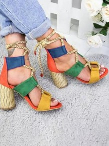 Rainbow Color Block Round Toe Chunky Cut Out Lace Up Fashion High-Heeled Sandals