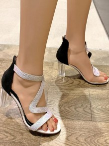 White Round Toe Chunky Sequin Fashion Casual High-Heeled Sandals
