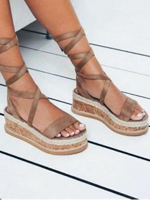 Brown Round Toe Wedge Heels Cross Strap Fashion Casual Sandals