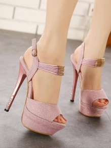 Pink Round Toe Piscine Mouth Stiletto Sequin Fashion Casual High-Heeled Sandals