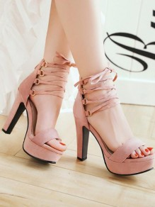 Pink Round Toe Chunky Cross Strap Fashion Casual High-Heeled Sandals
