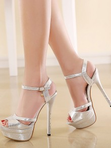 Silver Round Toe Piscine Mouth Stiletto Rhinestone Fashion Casual High-Heeled Sandals