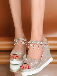 Golden Round Toe Wedge Pearl Rhinestone Fashion Casual Sandals