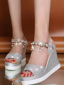 Silver Round Toe Wedge Pearl Rhinestone Fashion Casual Sandals