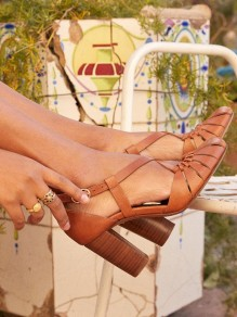 Brown Round Toe Chunky Buckle Cut Out Fashion High-Heeled Sandals