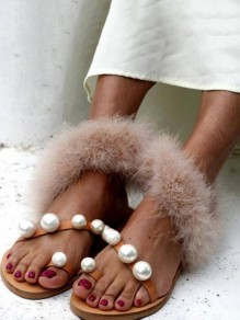 Yellow Round Toe Pearl Faux Fur Patchwork Fashion Casual Flat Sandals