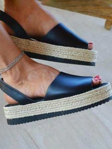 Blue Round Toe Wedges Fashion Casual Sandals