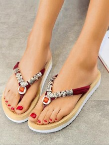 Red Round Toe Rhinestone Print Fashion Casual Flat Sandals