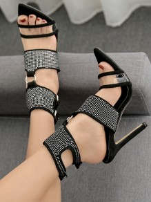 Black Point Toe Stiletto Rhinestone Fashion Casual High-Heeled Sandals
