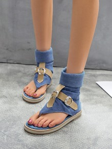Blue Round Toe Fashion Casual Flat Sandals