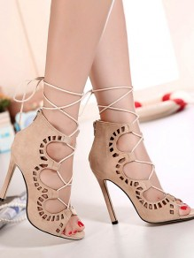 Apricot Round Toe Piscine Mouth Stiletto Cut Out Fashion High-Heeled Sandals