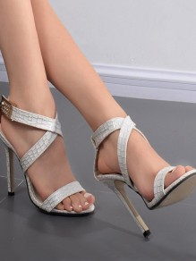 White Round Toe Stiletto Fashion Casual High-Heeled Sandals