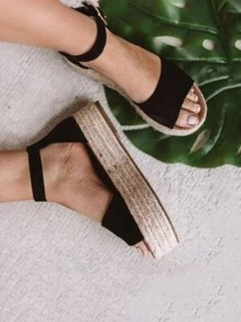 Black Round Toe Buckle Chunky Casual Flat Sandals
