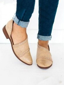 Apricot Point Toe Fashion Casual Flat Sandals
