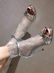 Silver Round Toe Stiletto Sequin Grenadine Cut Out Fashion High-Heeled Sandals