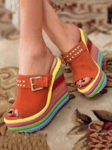 Orange Round Toe Wedges Piscine Mouth Fashion High-Heeled Sandals