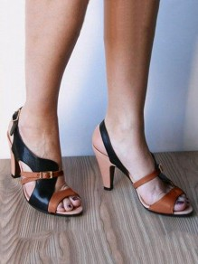 Brown Round Toe Chunky Patchwork Fashion High-Heeled Sandals