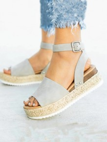 Grey Round Toe Patchwork Fashion Casual Flat Sandals