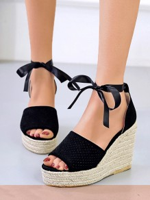 Black Round Toe Wedges Piscine Mouth Fashion High-Heeled Sandals