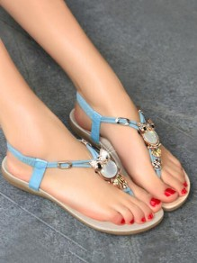 Sky Blue Round Toe Rhinestone Fashion Casual Flat Sandals