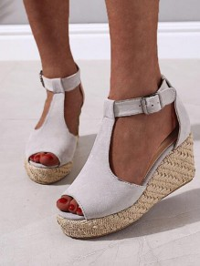 Grey Round Toe Wedges Piscine Mouth Fashion High-Heeled Sandals