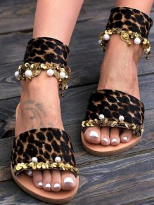 Brown Round Toe Pearl Leopard Sheet-metal Fashion Casual Flat Sandals