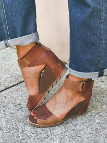 Brown Round Toe Wedges Piscine Mouth Fashion High-Heeled Sandals