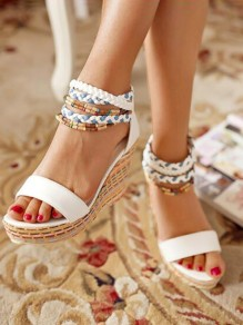 White Round Toe Wedges Cross Strap Striped Print Fashion High-Heeled Sandals