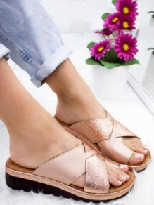 Golden Round Toe Fashion Casual Flat Sandals