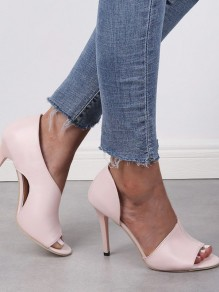 Pink Point Toe Cut Out Fashion High-Heeled Sandals