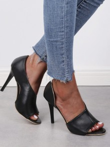 Black Point Toe Cut Out Fashion High-Heeled Sandals