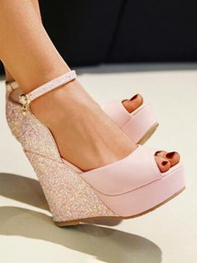 Pink Round Toe Wedges Sequin Piscine Mouth Fashion High-Heeled Sandals