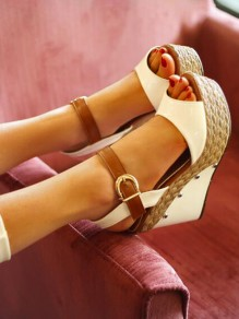 White Round Toe Wedges Rivet Fashion High-Heeled Sandals