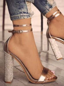 Golden Round Toe Chunky Rhinestone Sequin Fashion High-Heeled Sandals