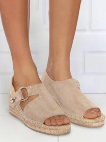 Beige Round Toe Wedges Buckle Fashion Mid-Heeled Sandals