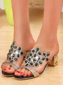 Black Round Toe Chunky Rhinestone Cut Out Fashion Mid-Heeled Sandals