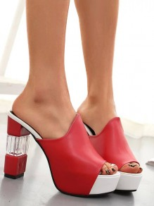 Red Round Toe Chunky Cut Out Patchwork Fashion High-Heeled Sandals