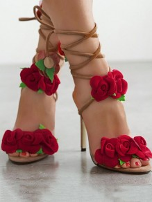 Apricot Round Toe Stiletto Flower Cross Strap Lace Up Elegant Boho Wedding High-Heeled Sandals