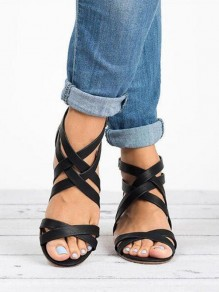 Black Round Toe Chunky Cross Strap Piscine Mouth Fashion Mid-Heeled Sandals