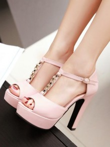 Pink Round Toe Chunky Piscine Mouth Chain Fashion High-Heeled Sandals