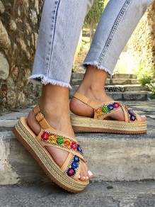 Multicolor Round Toe Embroidery Fashion Mid-Heeled Sandals