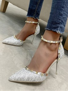 Grey Point Toe Stiletto Rivet Buckle Fashion High-Heeled Sandals