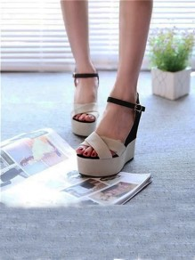 Beige Round Toe Wedges Piscine Mouth Fashion High-Heeled Sandals