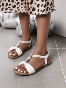 White Round Toe Buttons Cut Out Fashion Casual Low-Heeled Sandals