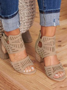 Beige Round Chunky Fashion Casual Sandals