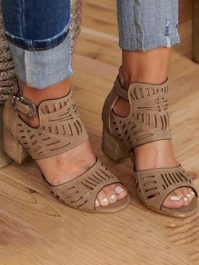 Brown Round Chunky Fashion Casual Sandals