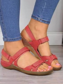 Red Round Wedges Fashion Casual Sandals