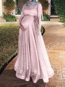 Pink Patchwork Grenadine Sequin Sashes Flowy Muslim Sparkly Banquet Party Maternity Dress